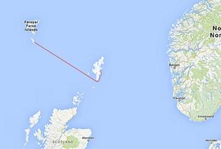 Route Vagur-Shetlands