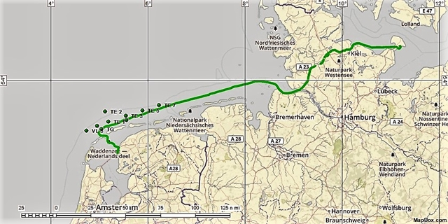 De route Makkum - Burgstaaken