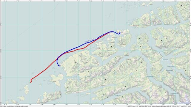De routes van de heen- en de terugreis (blauw is de heenreis)