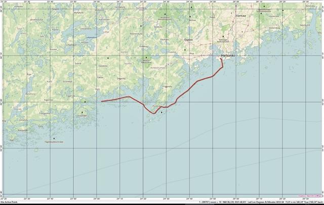 Route Jakobshamn - Helsinki