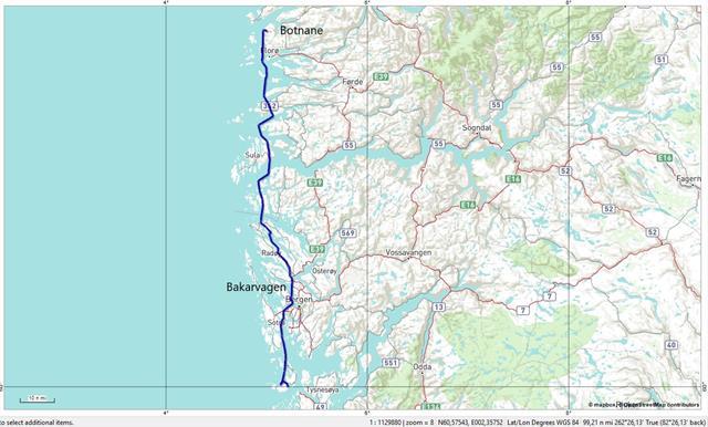 Van Botnane nnar Bekkjarvik, een behoorlijke afstand!